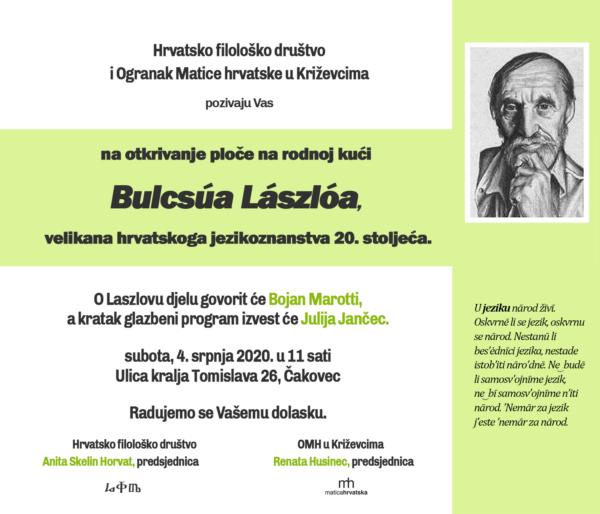 Pozivnicana otkrivanje ploče na rodnoj kući Bulcsúa Lászlóa