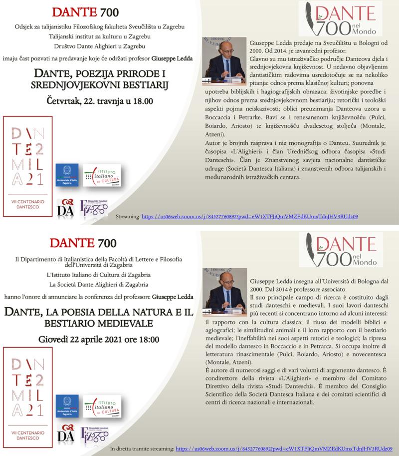 Pozivnica za predavanje ''Dante, poezija prirode i srednjovjekovni bestiarij''